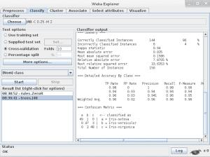 Weka J48 algorithm results on the iris flower dataset