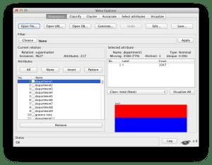Supermarket dataset loaded in the Weka Explorer
