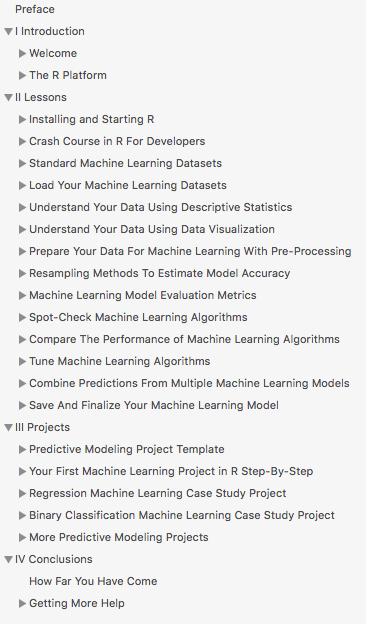 Machine Learning Mastery With R Table of Contents