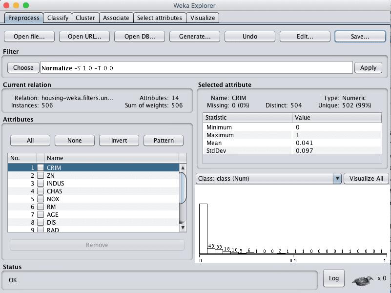 Weka Boston House Price Dataset Normalize Data Filter
