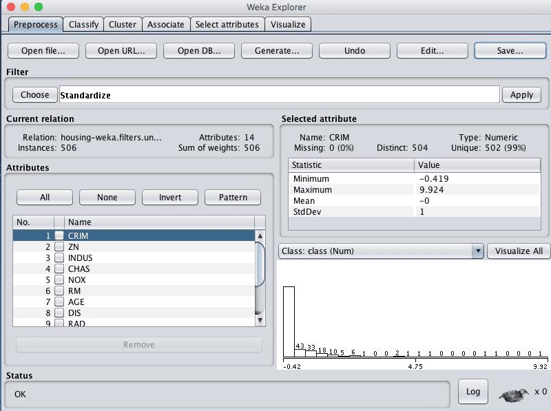 Weka Boston House Price Dataset Standardize Data Filter