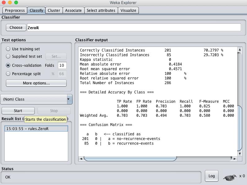 Weka Explorer Classify Tab