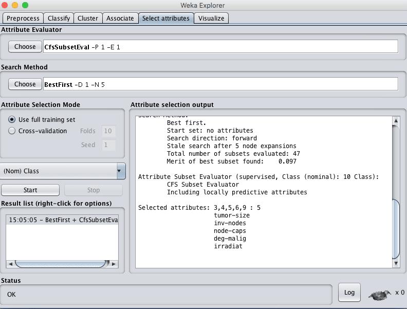 Weka Explorer Select Attributes Tab