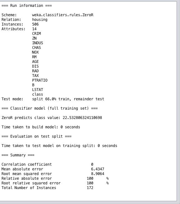Weka Regression Performance Summary