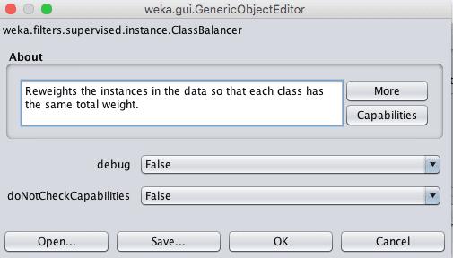 Weka Data Filter Configuration