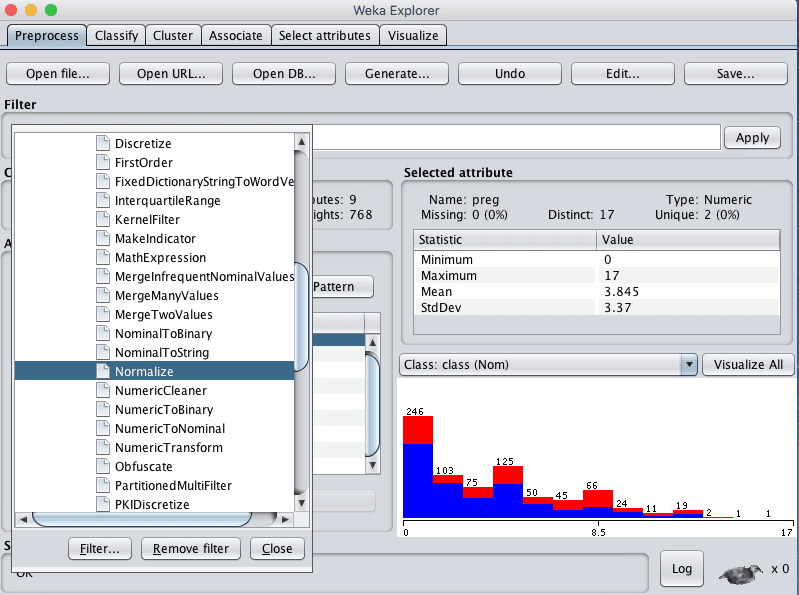Weka Select Normalize Data Filter