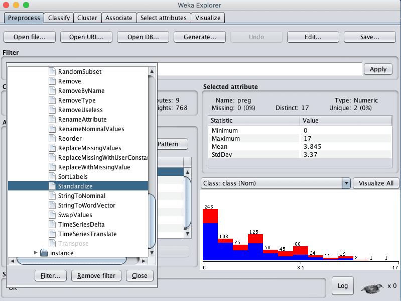 Weka Select Standardize Data Filter