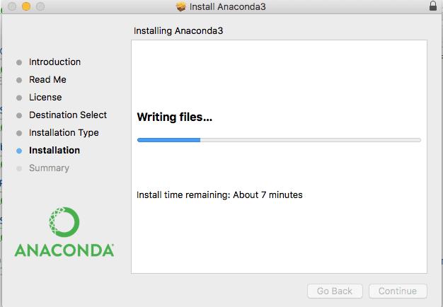 Anaconda Python Installation Wizard Writing files