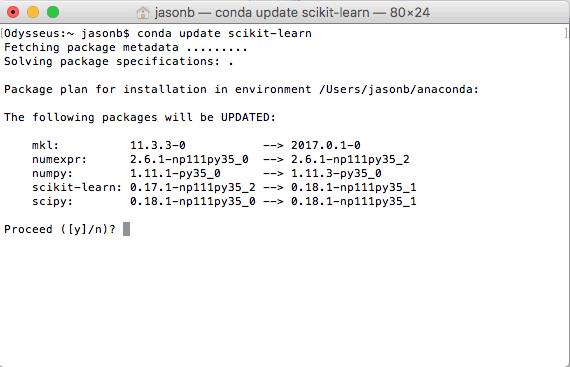 Update scikit-learn in Anaconda