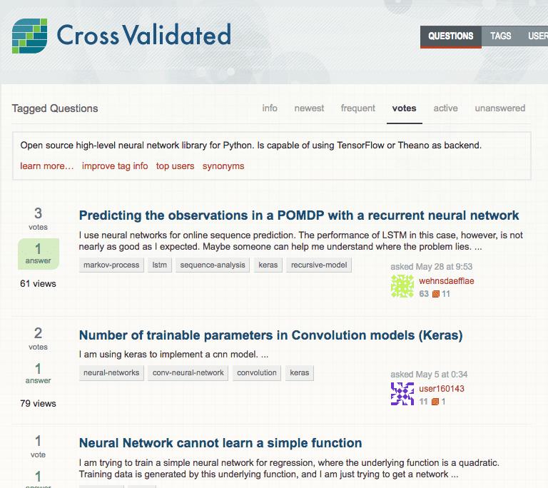 Keras tag on CrossValidated