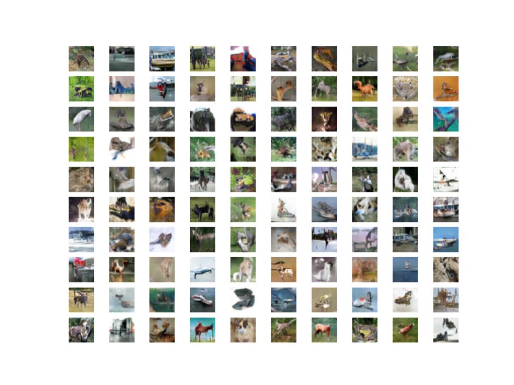 Example of 100 GAN Generated CIFAR-10 Small Object Photographs