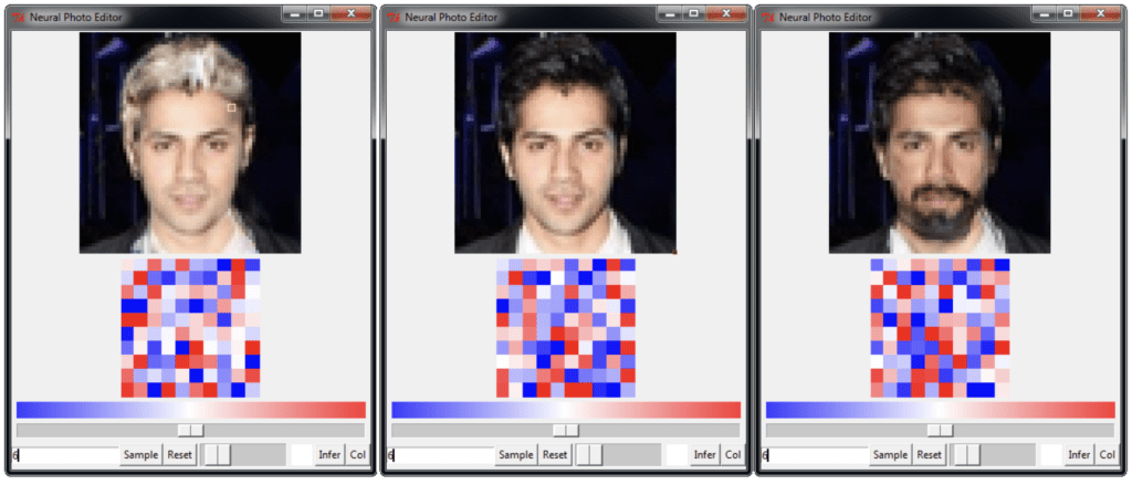 Example of Face Editing using the Neural Photo Editor based on VAEs and GANs
