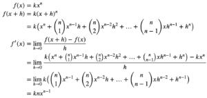 Derivative of kx^n